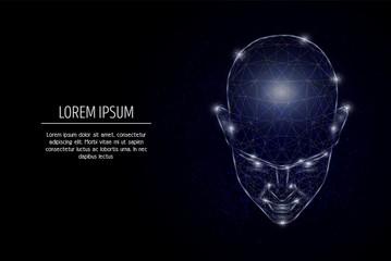 Human mind vector geometric polygonal art style design