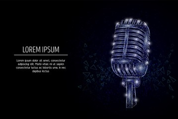 Music microphone vector geometric polygonal art style design