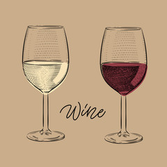 Italian red and white wine glass vintage engraving illustration with calligraphy on craft paper background