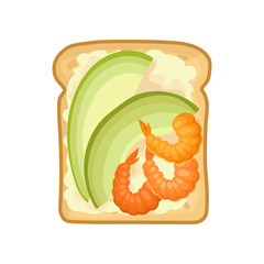 Sandwich with slices avocado and boiled shrimps. Delicious food for breakfast. Flat vector for cafe or restaurant menu