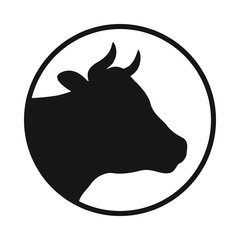Sign head cow. Isolated black silhouette head cow in the circle on white background. Vector illustration