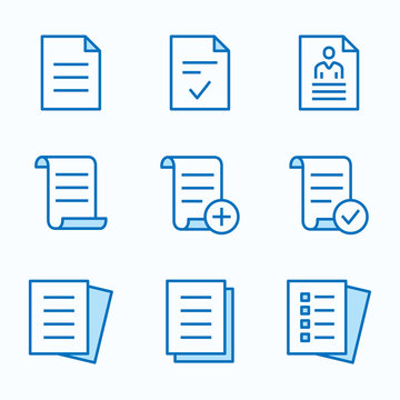 Document flat line icon set. Vector illustration. Editable stroke.