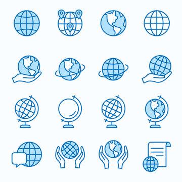 Globe flat line icon set. Vector illustration. Editable stroke.