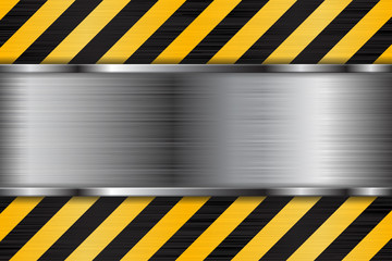 Brushed metal texture with black yellow stripes. Under construction background