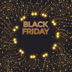 Black Friday sales banner. Gold sparkling circle frame with text. Vector poster illustration.