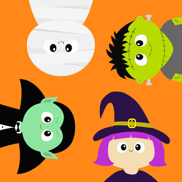 Happy Halloween. Mummy, Vampire count Dracula, whitch hat, zombie round face head body icon set. Cute cartoon funny spooky baby character. Greeting card. Flat design Orange background.