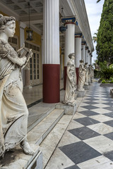 "Statues of the nine muses at Achilleion Palace, island of Corfu. Achilleion was built by Empress Elisabeth of Austria, known as ""Sissi""."