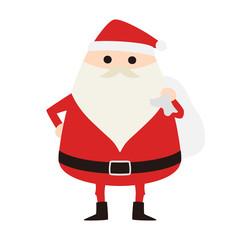 サンタクロースのイラスト。赤い服を着て、プレゼントを配りに行こうとしてる。