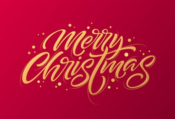 Golden text on dark red background. Merry Christmas and Happy New Year lettering for invitation and greeting card, prints and posters. Hand drawn inscription, calligraphic design. Vector illustration