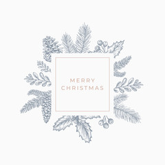 Merry christmas Abstract Botanical Card with Square Frame Banner and Modern Typography. Grey and Pink Pastel Colors Greeting Layout.