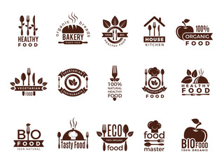 Restaurant logo. Food manufacture vintage labels for kitchen eco fresh healthy cooking house vector badges template. Food restaurant badge, natural and health market illustration