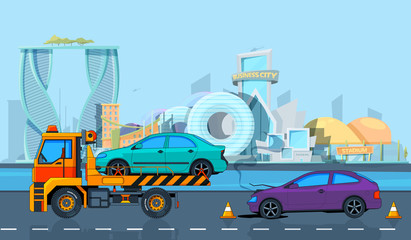 Transport accident in Urban landscape. Vector background in cartoon style. Illustration of road evacuate, broken transportation car
