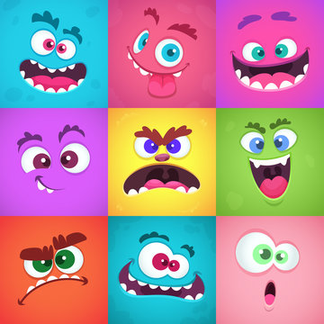 Monsters emotions. Scary faces masks with mouth and eyes of aliens monsters vector emoticon set. Halloween cute alien, head funny character flat illustration