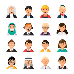 Occupations avatars. Waiter stewardess judge advocate manager builder male and female profession vector icons. Illustration of people worker professional, woman and man