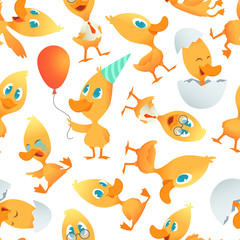 Cartoon ducks pattern. Seamless background with cartoon funny birds. Vector bird mascot character, wildlife mammal duckling illustration