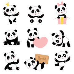 Cute baby pandas. Toy animals chinese symbols panda bear adorable funny baby mascot vector characters collection in cartoon style. Illustration of panda bear, animal chinese nature