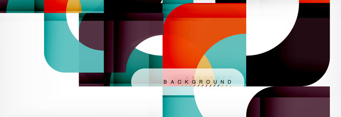 Colorful squares composition abstract banner. Illustration for business brochure or flyer, presentation and web design layout