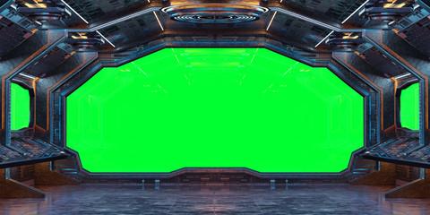 Fototapete - Grunge Spaceship interior background 3D rendering