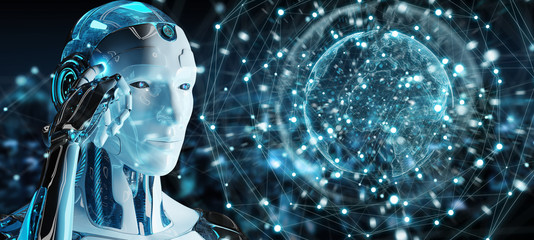 White male robot using digital screen interface 3D rendering