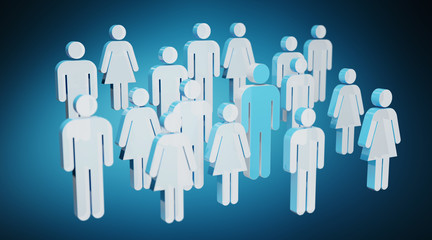 3D rendering group of people with blue man in middle