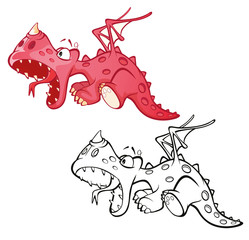 Aluminium Prints Baby room Illustration of a Cute Red Dragon. Cartoon Character. Outline Draving