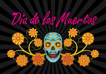Dia de los Muertos, Day of the Dead, banner with text, scull and flowers. Black background. Vector illustration.