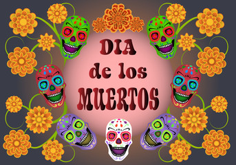 Dia de los Muertos, Day of the Dead, banner with text, color sculls and flowers. Black blue background. Vector illustration.