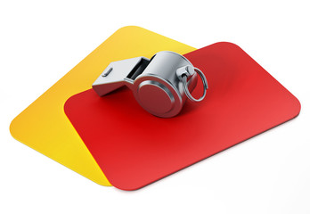 Red, yellow cards and whistle isolated on white background. 3D illustration