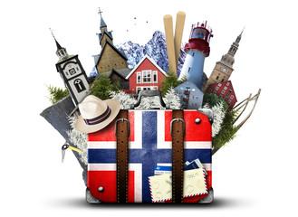 Poster de jardin Etats-Unis Norway, retro suitcase with hat and Norwegian attractions