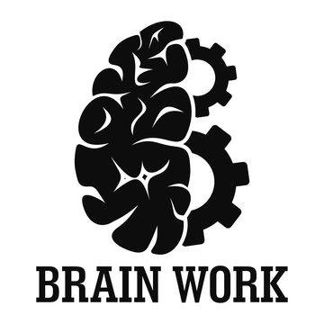 Hard brain work logo. Simple illustration of hard brain work vector logo for web design isolated on white background