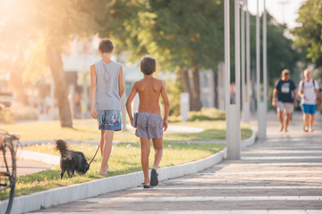 Two young guys (boys) best friends or brothers are walking with a little black dog on summer Italian street during sunset or sunrise - travel, vacation in Italy on seaside and friendship concept