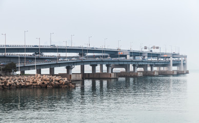 Gwangandaegyo or Diamond Bridge in fog