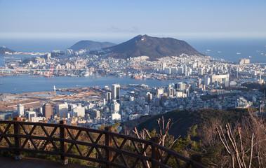 Busan city, South Korea. Coastal view