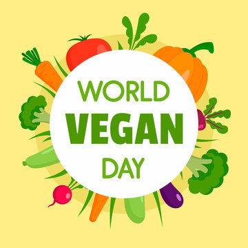 Happy vegan day concept background. Flat illustration of happy vegan day vector concept background for web design