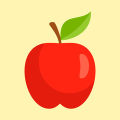 Red apple icon. Flat illustration of red apple vector icon for web design