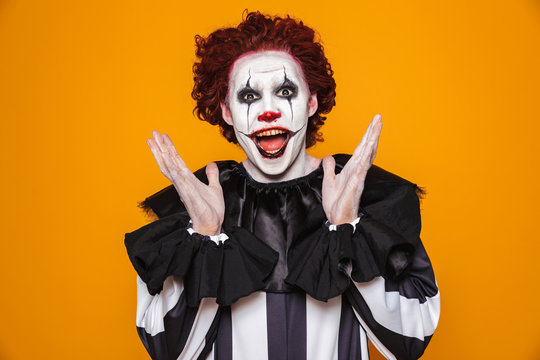 Funny clown looking camera with happiness isolated
