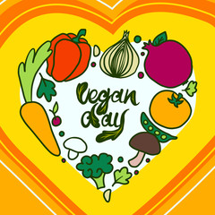 Happy vegan day concept background. Hand drawn illustration of happy vegan day vector concept background for web design