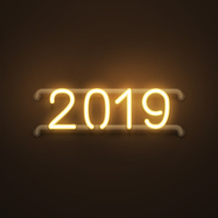 Happy New 2019 year glowing gold neon text banner, postcard design, vector illustration