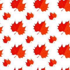 Vector Illustration. Red Maple leaf. Autumn icon leaf pattern. SEamless pattern with red maple leaf