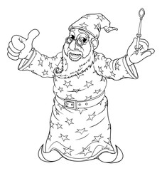 A cartoon wizard character holding a magic wand outline coloring drawing