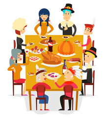 Thanksgiving family friends eat meal pie turkey pumpkin pilgrim indian costumes cartoon design vector illustration