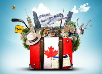 Poster de jardin Canada Canada, retro suitcase with hat and canadian attractions