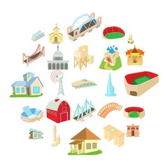 Building house icons set. Cartoon set of 25 building house vector icons for web isolated on white background
