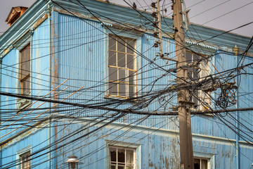 Pole and electrical wires in Valparaiso, Chile