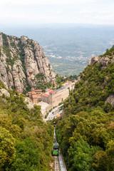 Montserrat Kloster Barcelona Spanien Landschaft Hochformat Katalonien Reise Seilbahn Aussicht