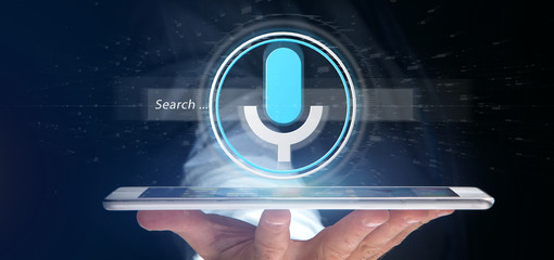 Businessman holding a Vocal search system with button and icon3d rendering