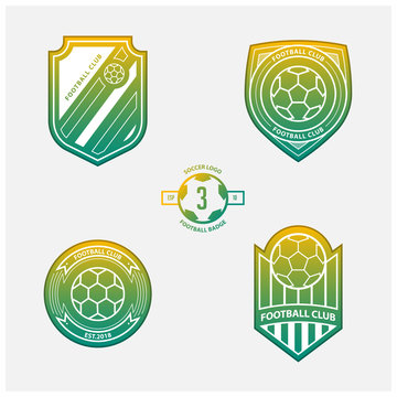 Set of football or soccer crests and logos. Soccer badges in flat design on yellow and green gradient background. Football emblem for sport club. Vector illustration.