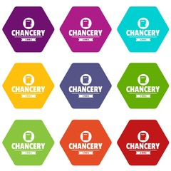 Chancery icons 9 set coloful isolated on white for web