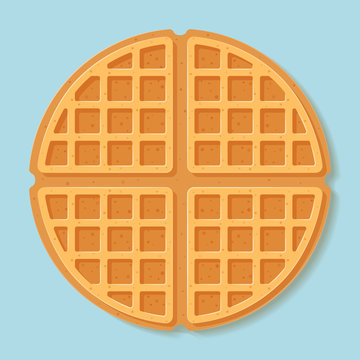 Round waffle. Vector illustration.