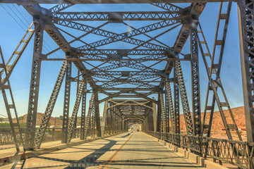 Fotobehang Route 66 Iron bridge over the railroad in Barstow California on the historic Route 66. North 1st Street Bridge.